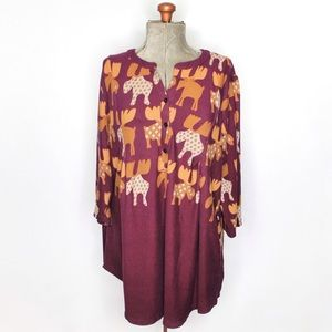 R&B Collection Maroon Purple Moose Sweater Dress